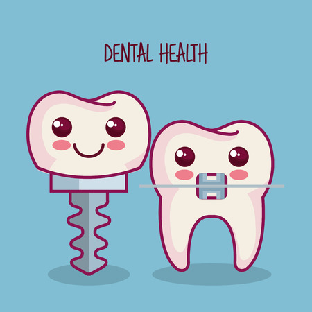 dental implant and tooth with braces over blue background vector illustration