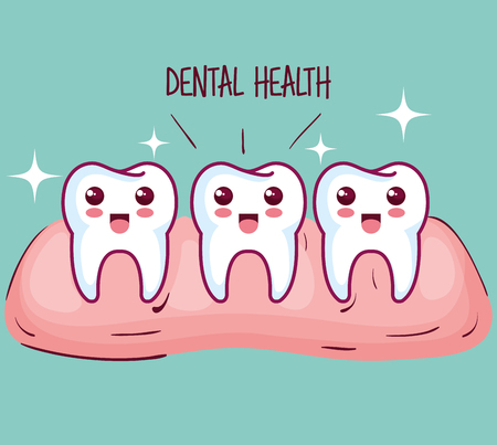 Kawaii healthy teeth and gum over teal background vector illustration