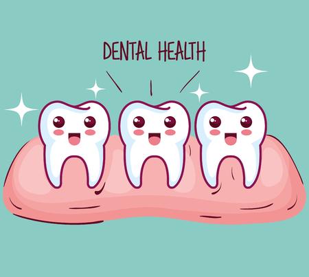 Kawaii healthy teeth and gum over teal background vector illustration