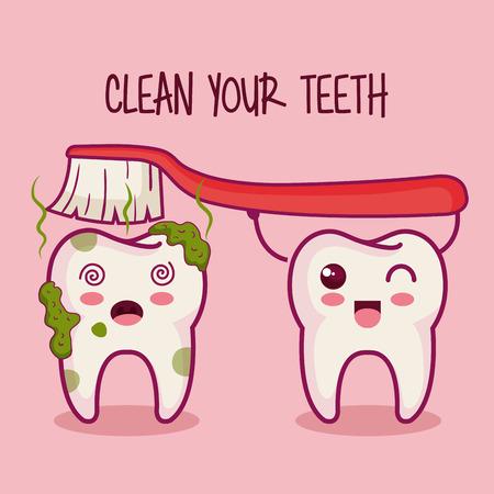 dientes sucios: Los dientes y cepillo con la limpieza de sus dientes firmar sobre fondo rosa ilustración vectorial Vectores