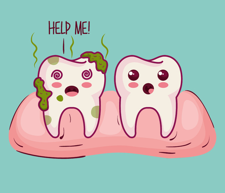 sick tooth and help me sign over light background vector illustration Illustration