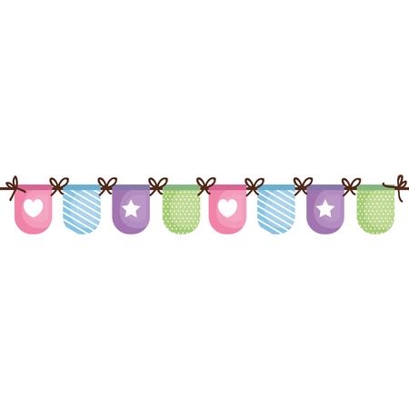아름 다운 액세서리 아기 아이콘 벡터 일러스트 디자인 그래픽