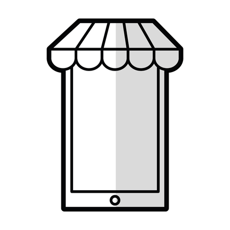 responsive: smartphone with parasol icon vector illustration design Illustration