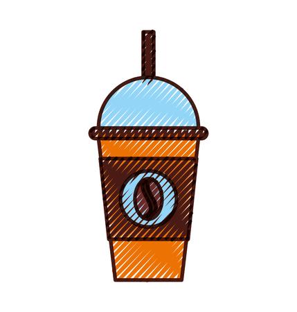 koffie plastic kop pictogram vector illustratie ontwerp