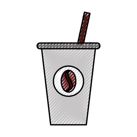 Ontwerp van de het pictogram vectorillustratie van de koffie het plastic kop Stock Illustratie
