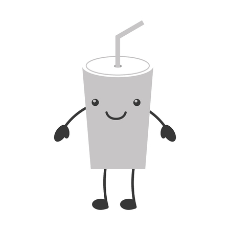 plastic cup  character vector illustration design