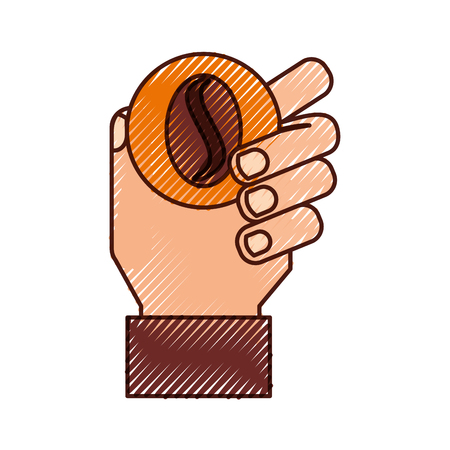 Hand human with coffee grain isolated icon vector illustration design Ilustração