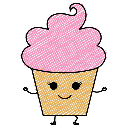 Dulce nata niños iconos ilustración vectorial diseño doodle Foto de archivo - 81009818