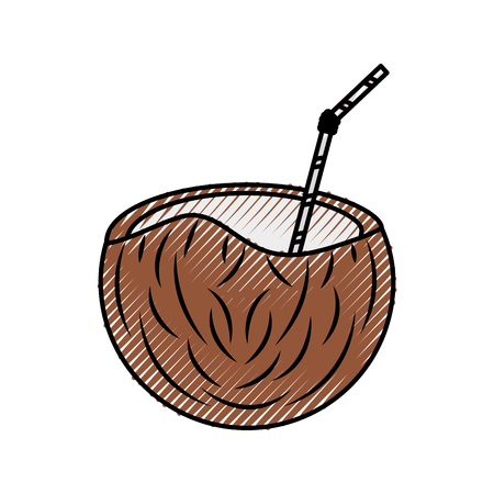 flavor: coconut tropical and exotic fruit vector illustration design