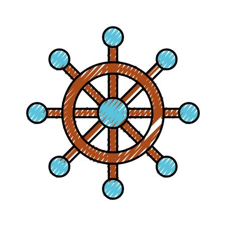 Timone di barca isolato icona illustrazione vettoriale di progettazione Archivio Fotografico - 81010648