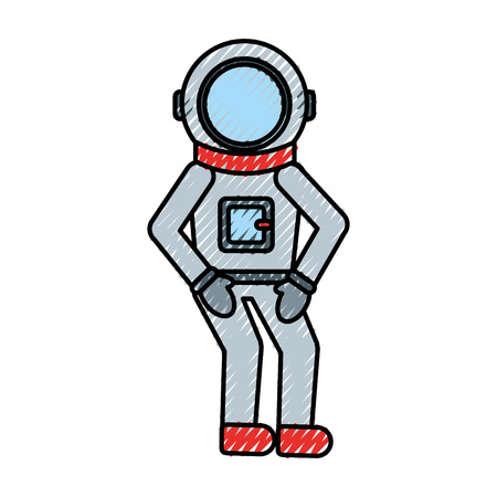 astronaut comic character icon vector illustration design Illusztráció