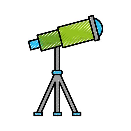Telescoop apparaat ruimtelijk pictogram vector illustratie ontwerp
