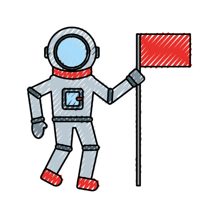 astronaut with flag comic character icon vector illustration design