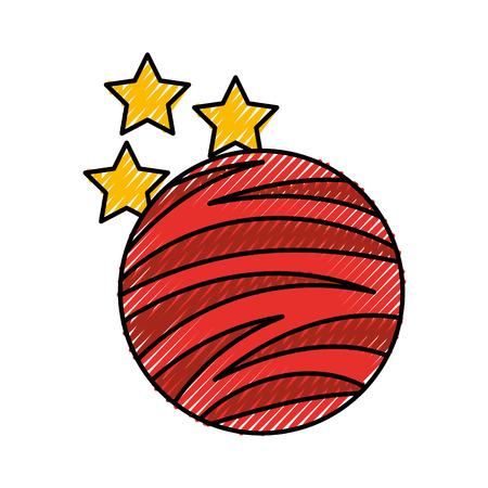 Planeet mars met sterren icoon vector illustratie ontwerp