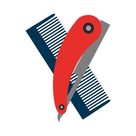 barbershop comb with razor vector illustration design