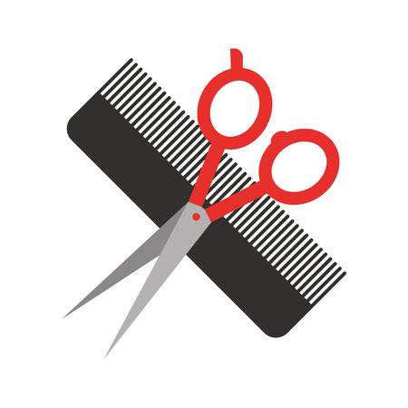 シザーと理髪店くし分離アイコン ベクトル イラスト デザイン