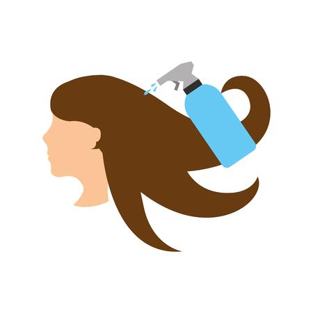 스프레이 병 이발사 제품 벡터 일러스트 레이 션 디자인을 가진 머리 여자