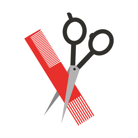 barbershop scissor with comb vector illustration design Çizim