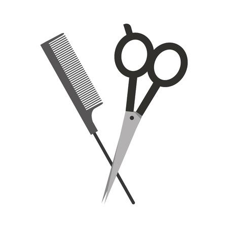 barbershop scissor with comb vector illustration design Illustration