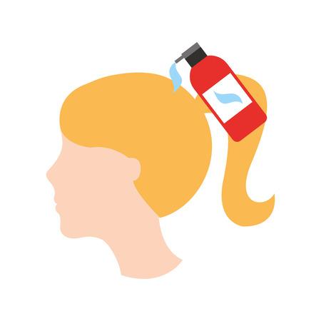 Kopf Frau mit Shampoo Flasche Friseur Produkt Vektor-Illustration Design Standard-Bild - 81009490