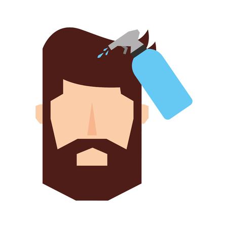 head man with spray bottle barber product vector illustration design