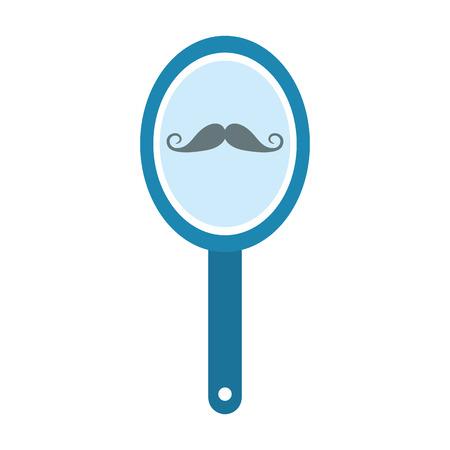Espejo de peluquero con diseño de ilustración de vector de reflexión de bigote Foto de archivo - 81009718