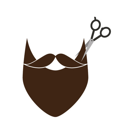 口ひげスタイル ヒップなベクトル イラスト デザインと理髪店のシザー