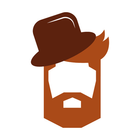 hair hipster style with gentleman hat model vector illustration design