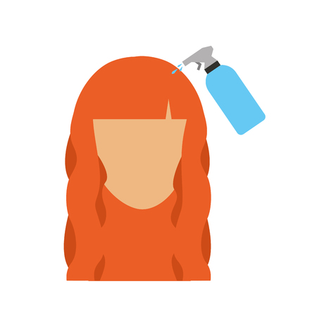 head woman with spray bottle barber product vector illustration design