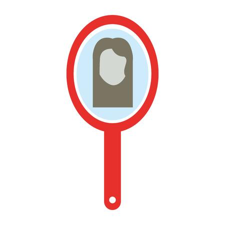 여자 반사 벡터 일러스트 디자인을 가진 이발사 거울