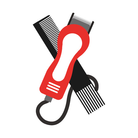 barbershop comb with hairdressing machine vector illustration design