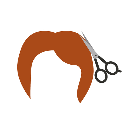 barbershop scissor with hair vector illustration design Illustration