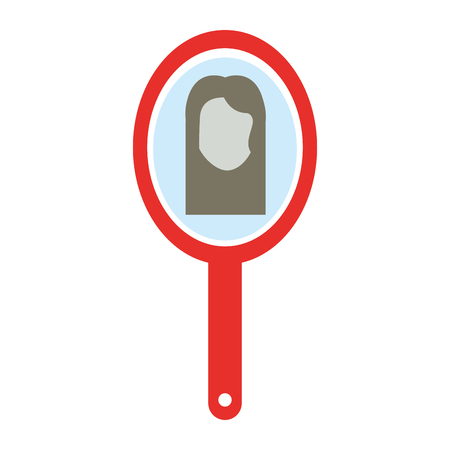 reflection in mirror: barber mirror with woman reflection vector illustration design Illustration