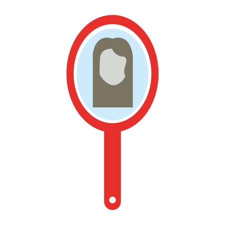 barber mirror with woman reflection vector illustration design Ilustração
