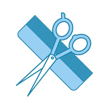 barbershop comb with scissor isolated icon vector illustration design Çizim