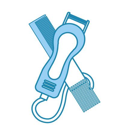 barbershop comb with hairdressing machine vector illustration design