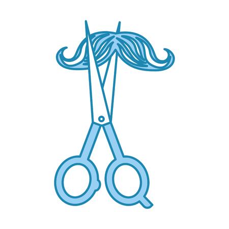 口ひげスタイル ヒップなベクトル イラスト デザインと理髪店のシザー 写真素材 - 81012371