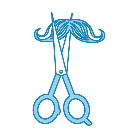 barbershop scissor with mustache style hipster vector illustration design