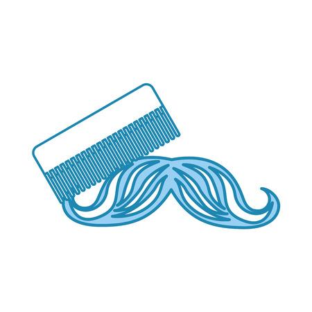 口ひげベクトル イラスト デザインと理髪店の櫛  イラスト・ベクター素材