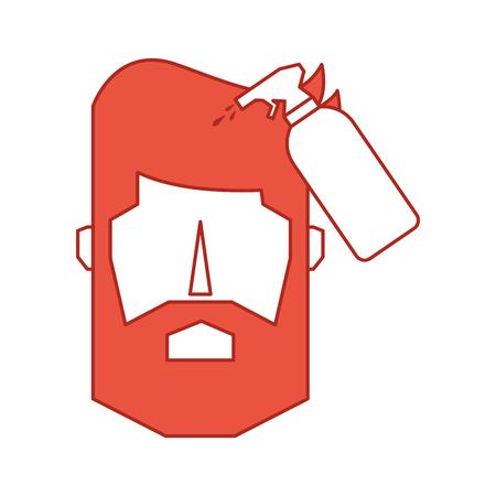 スプレー ボトル床屋製品ベクトル イラスト デザインで頭の男  イラスト・ベクター素材