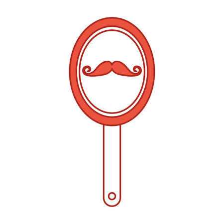 barber mirror with mustache reflection vector illustration design
