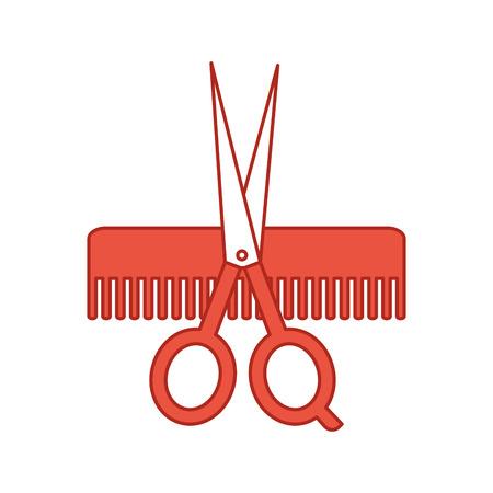Friseursalon Kamm mit Schere isoliert Symbol Vektor-Illustration Design Standard-Bild - 81012423