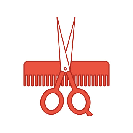 barbershop comb with scissor isolated icon vector illustration design Illustration