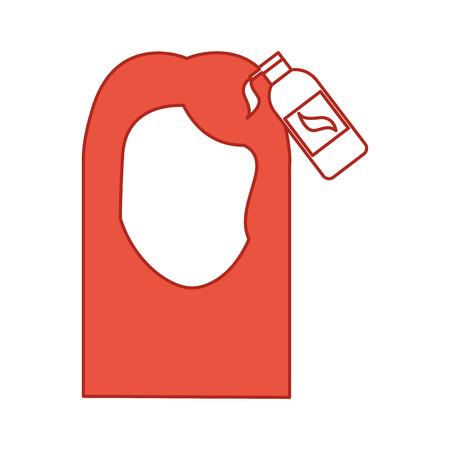 Kopf Frau mit Shampoo Flasche Friseur Produkt Vektor-Illustration Design Standard-Bild - 81012432