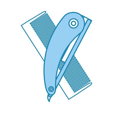 かみそりベクトル イラスト デザインと理髪店の櫛