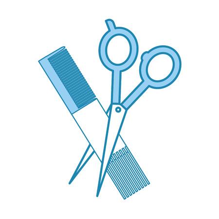 シザーと理髪店くし分離アイコン ベクトル イラスト デザイン 写真素材 - 81012531