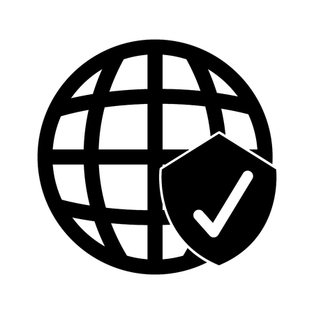 planet sphere with security shield isolated icon vector illustration design Illustration