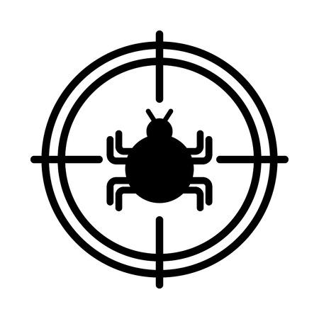 버그 감염 바이러스 아이콘 벡터 일러스트 디자인 대상 일러스트