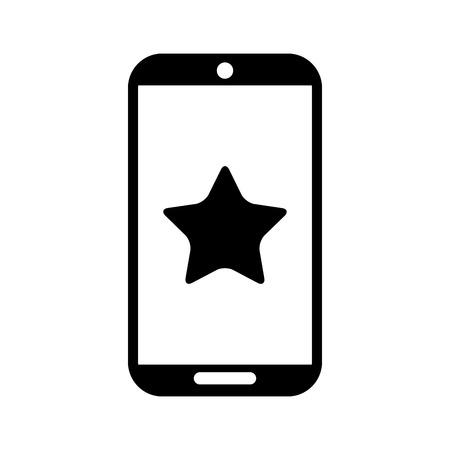 星の隔離されたアイコンベクトルイラストデザインのスマートフォンデバイス