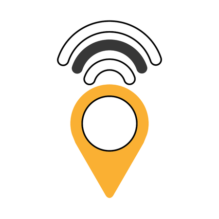 wireless signal: pointer with waves wifi vector illustration design